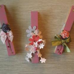 Pinces à linge Sabby roses